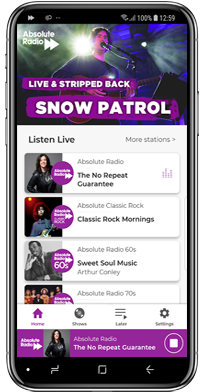 Download the free Absolute Radio app