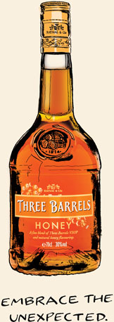 Embrace the unexpected with Three Barrels Honey, a delightfully smooth